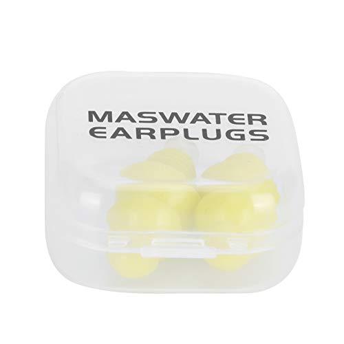 Tapones para los oídos con cancelación de ruido, tapones para los oídos para nadar antialérgicos Suministros para el cuidado de los oídos para dormir para nadar para ducharse(Yellow+PP box)