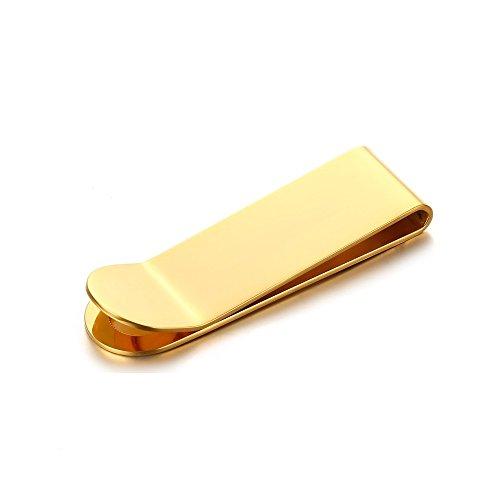 BOBIJOO Jewelry - Geld clip Man Gold-plated afwerking Roestvrij Stalen Deur Tickets Zilver-Kaart