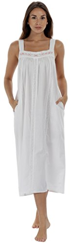 The 1 for U Nightgown 100% Cotton Sleeveless + Pockets Meghan (Medium, White)
