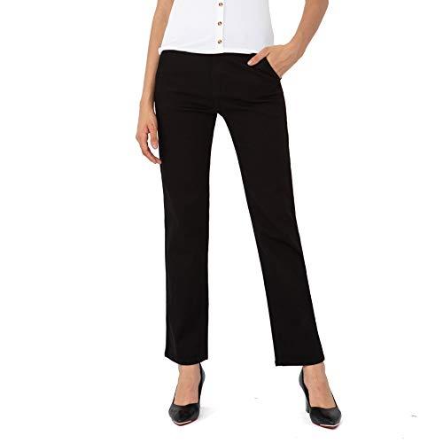 Bamans Damen Elegante Hose legere Hose gerade Beine Stretch-Anzug Hose Lange Weite Hose, mittlere Taille(Black,Medium)