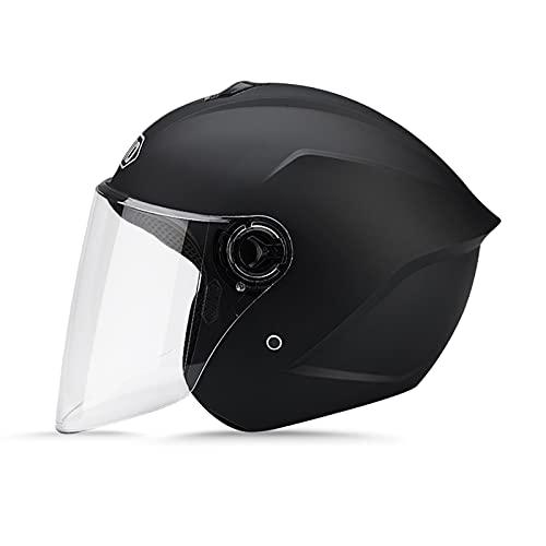 LIONCIANO Metà Aperto Faccia Casco Del Motociclo Con Visiera Riflettente,Casco Modulare Scooter,l'Anti-Collisione Protegge La Sicurezza Stradale Degli Utenti(Nero Opaco)