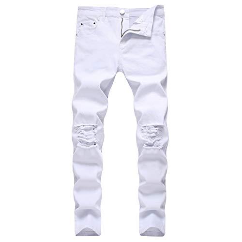 Beastle Pantalones Vaqueros para Hombre Pantalones Vaqueros elásticos Ajustados Casuales Simples Europeos y Americanos Pantalones Vaqueros Ajustados Rasgados con Personalidad de Moda 38