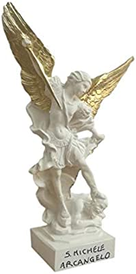 Saint Michael The Archangel Statue -White Figurine with Crown, Sword and Wings Golden Hand Painted - H 8,26 in