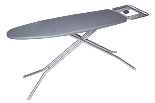 TIVIT Ironing Board with Pad & Cover - Sanfran 16 x 47 - Heavy Duty Metal Mesh Top, Adjustable Height w/Attached Iron Rest, Sturdy Steel Legs & Safety Lock System - Made in Italy