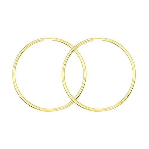 Große 60 mm Creolen Gold 585, Goldohrringe Damen Echt Gold mit Stempel Breite 2,5 mm, Gewicht ca. 4,1 g, Made in Germany