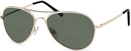 Balinco Pilotenbrille Sonnenbrille 70er Jahre Herren & Damen Sunglasses Fliegerbrille verspiegelt (Gold/Smoke-Green)