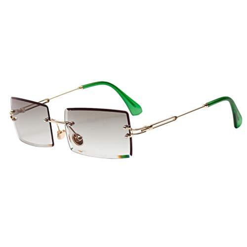Amuzocity Gafas de Sol Estilo Retro de Corte Rectangular, Lentes Tintados - Verde