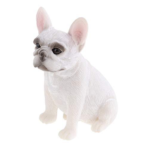joyMerit Lifelike Resin French Bulldog Figurine Animal Model Home Decor Collectibles - White Sitting