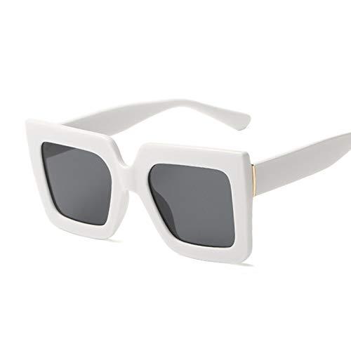 HAOMAO Diseñador de la Marca Cool Square Gafas de Sol de Gran tamaño para Mujer Gafas con Montura Grande Uv400 Blanco