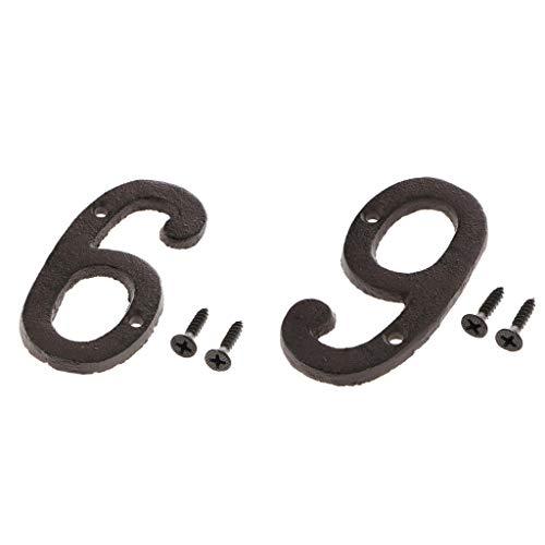 P Prettyia Letrero de Hierro para Puerta, Números de Buzón, Números 9 Y 6 Forjados Sólidos con Tornillos