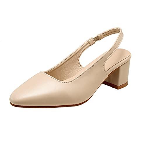 Sandalias romanas para mujer, puntiagudas, puntiagudas, de verano, con tacón de bloque al aire libre, zapatos elegantes y transpirables, sandalias de oficina con tira trasera para boda