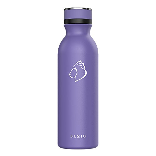 Buzio Vacuum Insulated Stainless Steel Water Bottle, Cold for 48 Hrs, Hot for 24 Hrs, Double Wall Standard Mouth with...