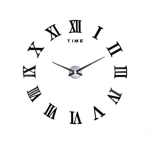 Fnho Oficina Estar Reloj de Pared Mute,Reloj de Pared silencioso diámetro maquinaria,Reloj de Pared Digital Romano DIY, Simple Hangar-Negro