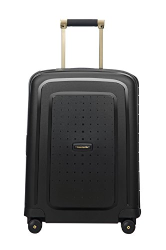 SAMSONITE S'Cure DLX Spinner 55, 2.9 KG Hand Luggage, 55 cm, 34 liters, Black (Black/Gold Deluscious)