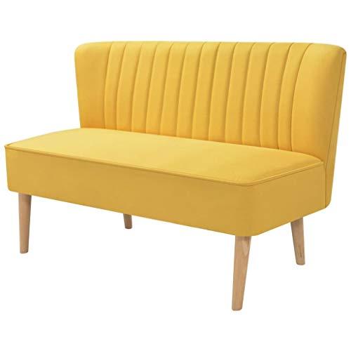 Festnight 2-Sitzer Lounge Sofa Kleines Couch Wohnzimmersofa Stoffsofa Polstersofa mit Holzrahmen 117x55,5x77cm für Wohnzimmer Schlafzimmer Büro, Gelb