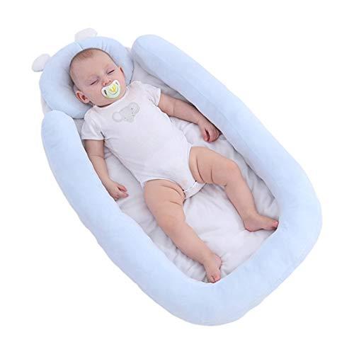 Carolilly Réducteur de Lit Bébé Cocon Nid de Couchage Bionique Baby Nest Coussin Lit Anti Reflux pour Bébé 0-12 Mois (Taille Unique, Bleu)