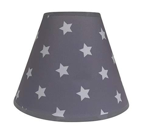 Lampenschirm/Tischleuchte / 20 cm (Unten) x 9 cm (Top) x 16 cm (Höhe) / Stehlampe/Grau/Sterne/Stoff / E14 / Klein/Rund oval/Kinderzimmer