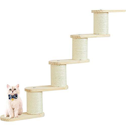 Umora 猫用 キャットタワー 宇宙船 キャットステップ 寝床 猫棚 木製 壁付け ウォールナット カプセル インテリア(5層キャットシェルフ)