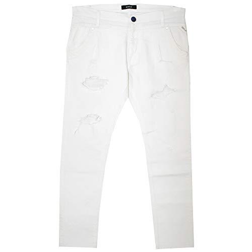 Replay, Denice, Damen 7/8 Damen Jeans Hose Stretchdenim White Destroyed W 28 L 28 [21782]