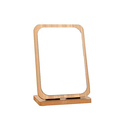 XJZSD Espejo Plegable portátil, Marco de Madera Antiguo Dormitorio de vanidad de vanidad mostrador de baño de Afeitado Maquillaje marrón