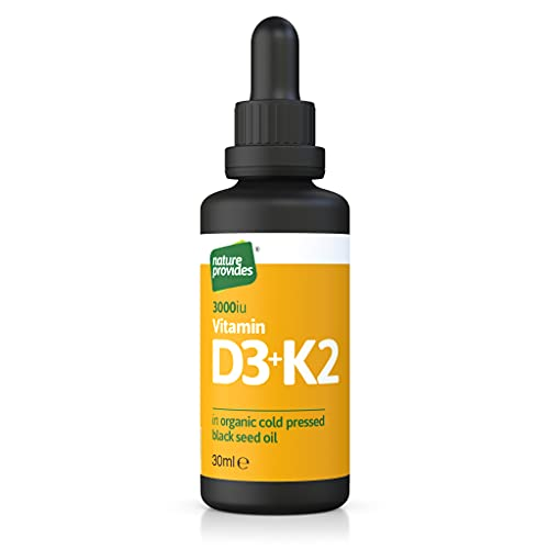 Vitamin D3 & K2 (MK-7) in Organic Black Seed Oil (30ml) High Strength Liquid (3,000IU). Immune Support Sublingual Drops. No preservatives, colourings or sweeteners (Made in The UK)
