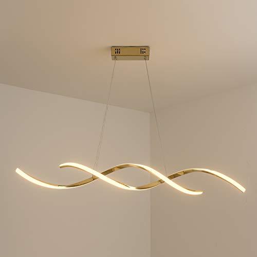 YUQIYU Chrome/Chapado en oro LED moderno Lámpara de araña for comedor Sala de cocina LED Araña 90-260V Suspensión de luminaria (Emitting Color : Dimmable RC)