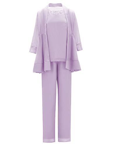SOLOVEDRESS - Trajes de gasa para mujer de 3 piezas de la madre de la novia vestido de noche pantalones trajes para boda - beige - 46