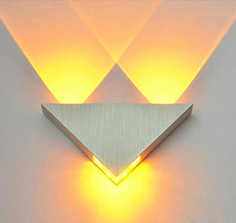 XY&XH Wandlampe, Moderne led wandleuchte 3 watt aluminium krper dreieck wandleuchte für schlafzimmer hause beleuchtung leuchte badezimmer leuchte wandleuchte, gelb
