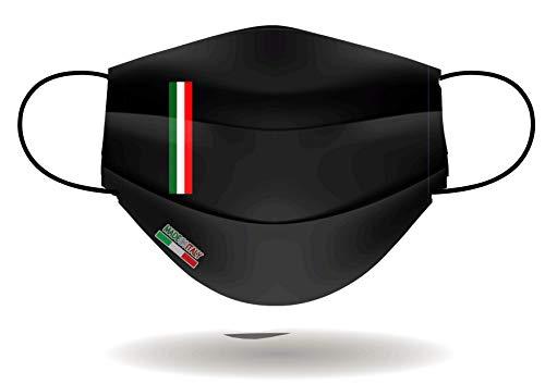 Mascherina per Viso con elastici, lavabile e sterilizzabile, Unisex, Made in Italy (NERO)