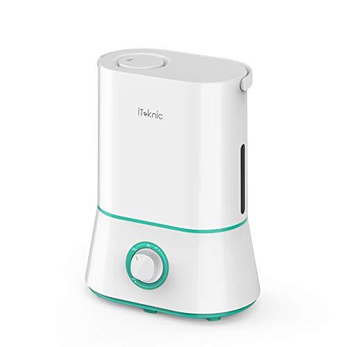 iTeknic Humidificador Ultrasónico Depositivo de Agua de Gran Capacidad para Dormitorio Bebés, Hogar y Oficina