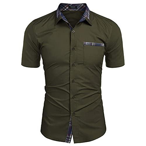 LSSM Camisas De Manga Corta Camisas De Verano para Hombres Trajes De Negocios Camisas para Hombres DiseñO Tropical Hawaiano Mao Lino Blusa Manga Camisas Top Sin Cuello Verde S