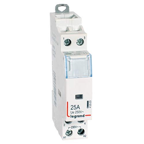 Legrand 412523 Contacteur de puissance CX³ bobine 230V sans commande manuelle, 2P, 250V, 25A, contact 2F, 1 module