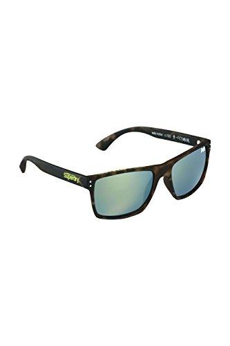 Superdry Sonnenbrille Kobe 2 122 - Braun melierte Sonnenbrille aus Kunststoff mit gelb grün verspiegelten Glässern - Herrenmodell - 100% UVA & UVB Schutz