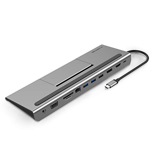 LENTION USB C Docking Station with 100W PD, 4K HDMI/DisplayPort, VGA, Ethernet, Card Reader, USB 3.0/2.0, Aux Adapter Compatible 2016-2020 MacBook Pro, New Mac Air/Surface, More (C95, Space Gray)