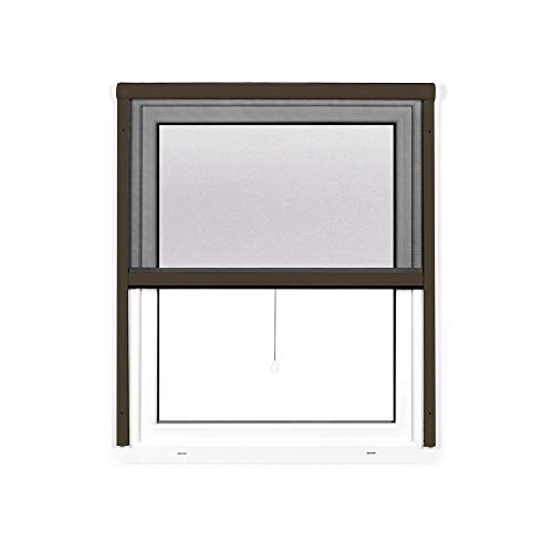 jarolift 4 in 1 Zanzara Insektenschutzrollo Fliegengitter für Fenster, Bausatz mit Aluminium-Rahmen, robustes Fiberglas-Gewebe, 130 x 160 cm (B x H), Braun