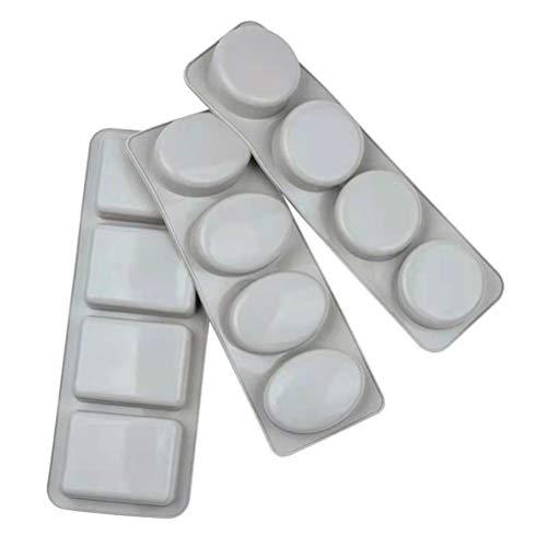 Haplws Molde de Silicona para Hacer jabón, 3 Piezas de Forma Ovalada, Redonda y Cuadrada, moldes de jabón, Molde de Silicona para Muffins de jabón para Manualidades caseras, Chocolate Ice Cube