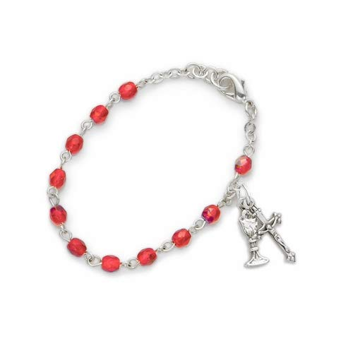 3mm July Ruby Birthstone Rosary Beads First Communion Bracelet with Chalice and Crucifix | Size: 6 1/2