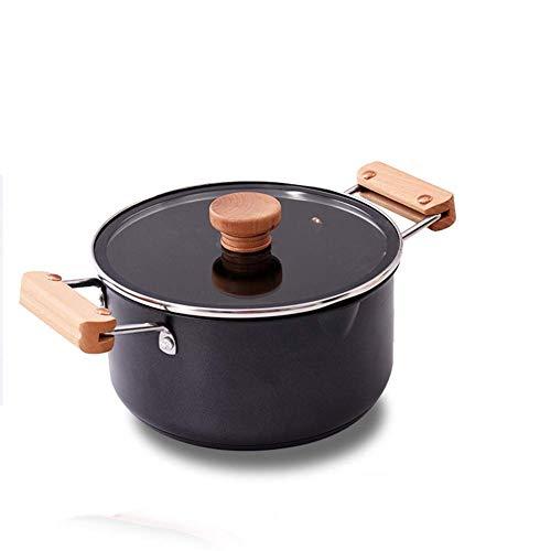 HaoLi Casseroles Casseroles Casserole antiadhésive en céramique avec Couvercle Pot à Soupe à Induction Pot à Soupe Revêtement Nano-céramique Poignée en chêne Less. (Couleur: -, Taille: 20Cm)