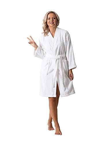 Luxurious Turkish Cotton Kimono Collar Super-Soft Terry Absorbent Bathrobes for Women (Small, White)