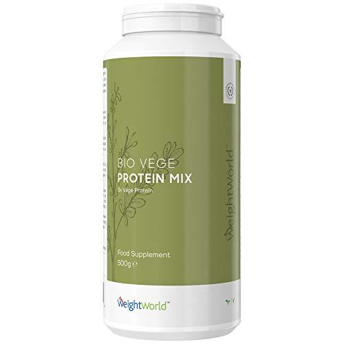 BIO Vegan Protein Pulver 500g - 100% Planzliches Erbsenprotein, Hanfprotein & Reisprotein - Proteinpulver für Fitness, Sport und Diät - Muskelaufbau dank Aminosäuren ohne Soja - Eiweißpulver Low Carb