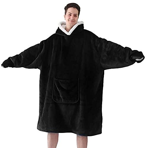 Hansleep Plaid Sweat à Capuche, Pull Polaire Femme Homme, Flannel Blanket Hoodie, Wearable Couverture Sherpa Adulte avec Manche et Poche, Géant Chaud Doux - Noir (Oversize)