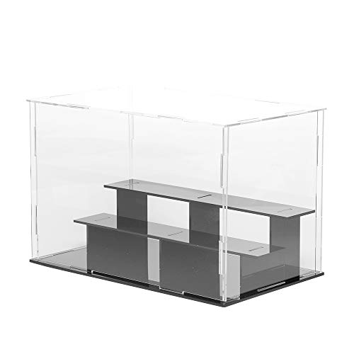 LANSCOERY 3 Steps Clear Acrylic Display Case Assembly Countertop Box Cube Organizer Stand Dustproof Protection Showcase for Action Figures, Toys, Collectibles (3 Tier 9.5x5.5x6.3 Inch, 24x14x16cm)