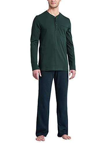 Schiesser Herren Schlafanzug lang Pyjamaset, grün, 110