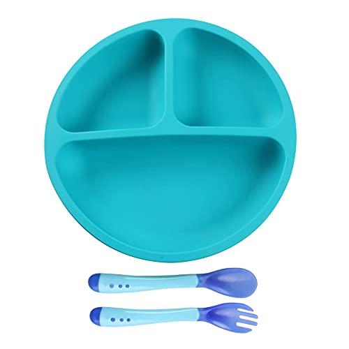 Teegxddy Juego de cubiertos 1 + 2 piezas, bandeja de silicona para niños, tenedor y cuchara portátil para niños y bebés