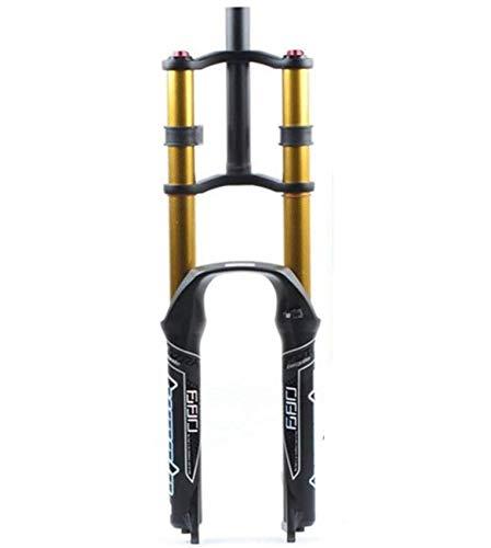 ZHTY Horquilla de suspensión de Bicicleta neumática 26/27.5/29'MTB Doble Hombro Descenso Rappel Amortiguador Recorrido 130 mm Freno de Disco de amortiguación QR DH/Am/FR Horquilla de suspensión