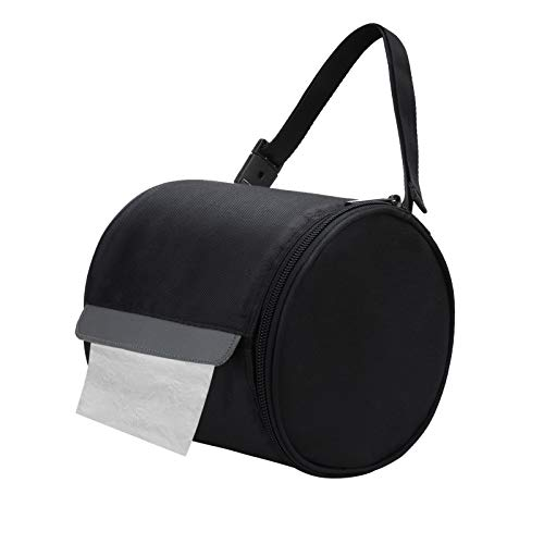 Hanging Toilet Paper Holder Waterproof Tissue Holder Cat Proof Roll Paper Case Cover Portable and Foldable Roll Storage Bag with Adjustable Strap for Wall Car Camping Tent Home Office Black