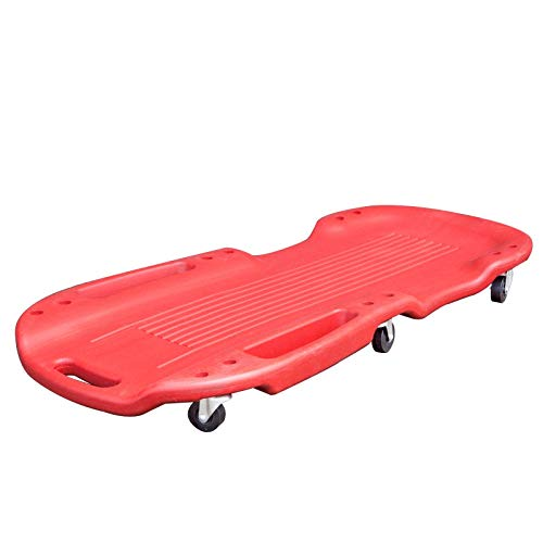QSYY Mechanic Plastic Creeper 101CM - Blow Molded Ergonomic ABS Body, 6 Wheels & Dual Tool Trays - 150KG Capacity Red