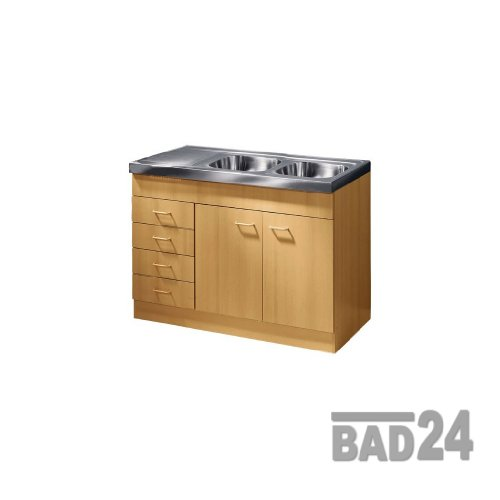 Küche-Spülenschrank/ Mehrzweckschrank 120x60 Schubkästen Start Melamin Buche/Buche