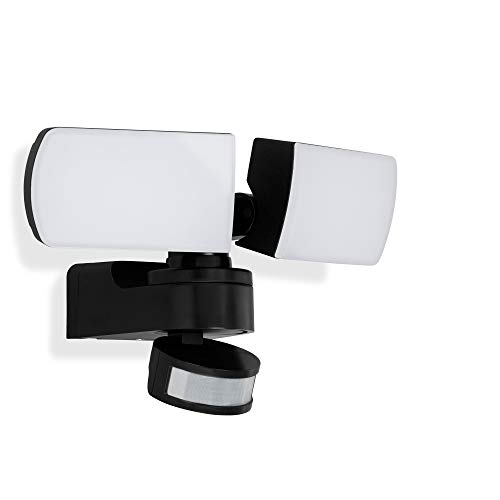 Telefunken - LED Außenwandleuchte, 2-flammig, inkl. Bewegungs- & Dämmerungssensor, inkl. Dauerlichtfunktion, Reflektor schwenkbar, 30 Watt, 3.100 Lumen, IP44, Weiß/Schwarz, 250x162x162mm (LxBxH)