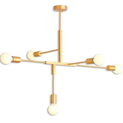 LWX Nórdico Posmoderno Personalidad Araña De Hierro Forjado Dormitorio Creativo Salón Araña LED Lámpara De Techo 5 Oro